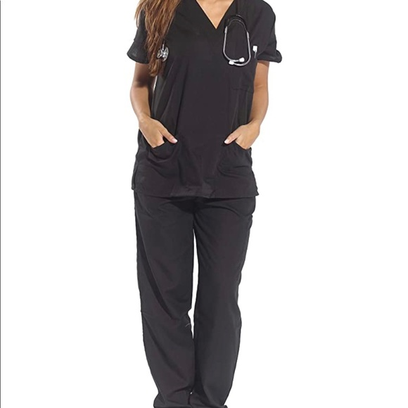 Scrub Set Black Medical Scrub M V-Neck+Cargo Pant